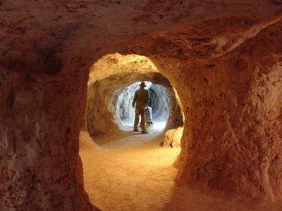 Inside an opal mine