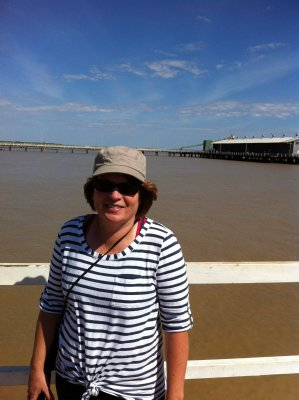 Karen at Derby. Our first view of the Indian Ocean