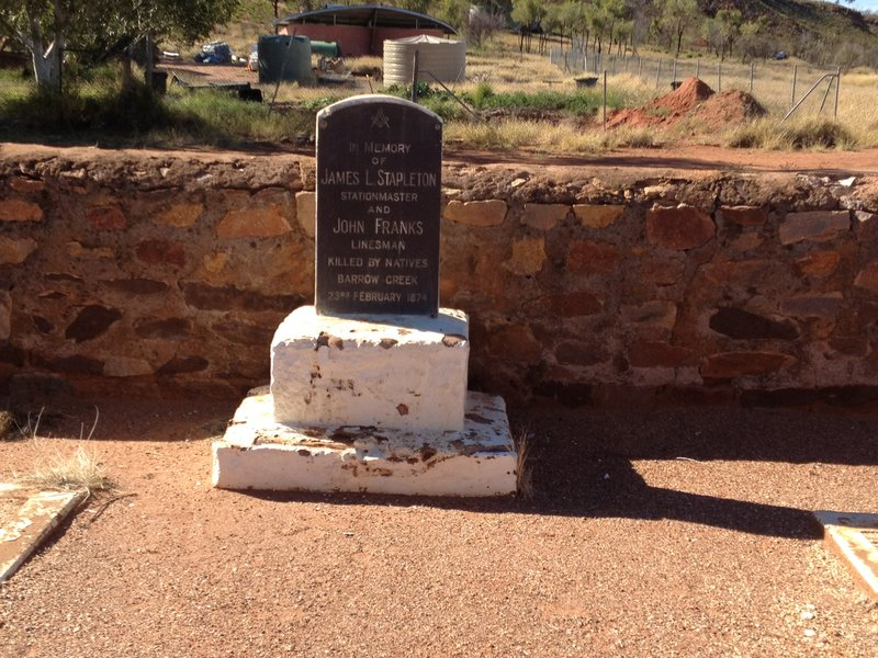 Grave Stone for Barrow Creek Station Master and Linesman