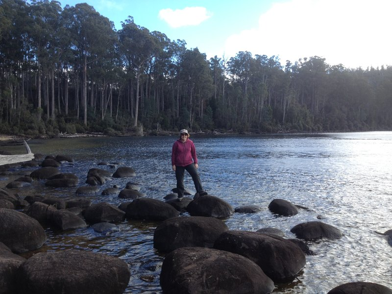 Karen on glacial erratics at Lake St Clair