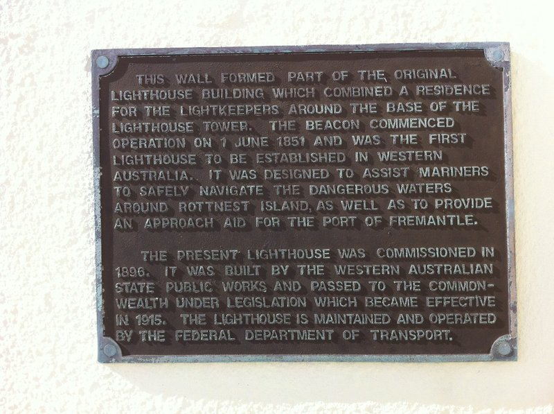 Lighthouse plaque - Rottnest Island