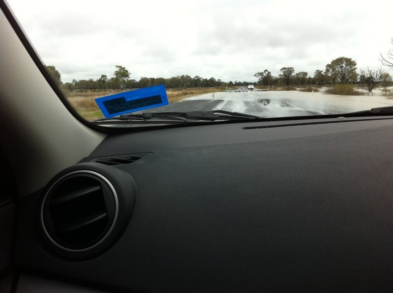 One of many flooded roads on our way home