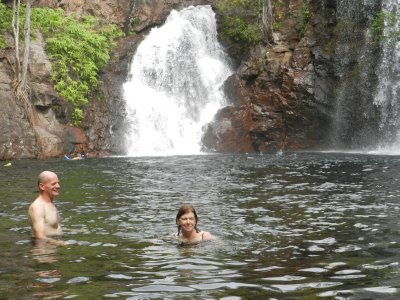 Mum and Chris swimming in falls