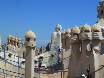 Sentries guarding the Casa Mila rooftop