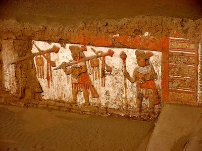 colourful wall fresco inside the pyramid
