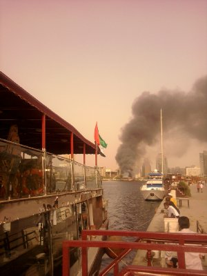 Dubai Creek Burning Trading Boat
