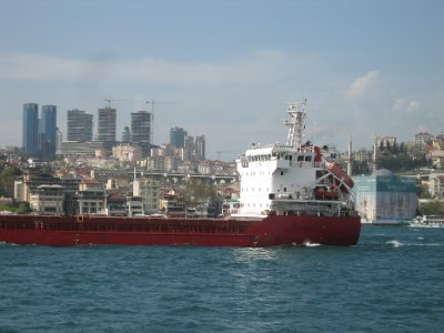 Istanbul Bosphorous Container Ship and City