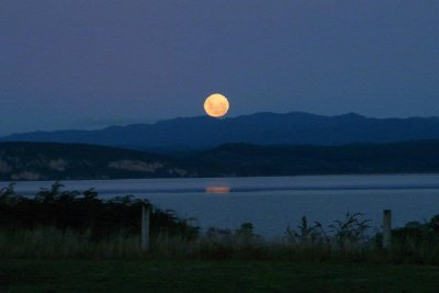 The Moon Rising Over Lake Taupo 03 - Taken by Margaret
