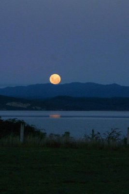 The Moon Rising Over Lake Taupo 01 - Taken by Margaret