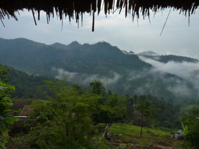 View from our hut of the misty mountains in the morning