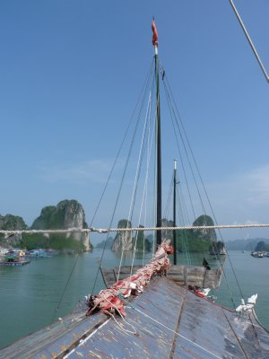 Setting sail onboard our Junker in Halong Bay