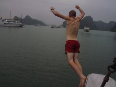 Dusk swim in Halong Bay