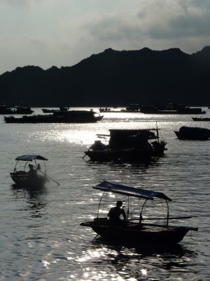 Sunset over the fishing port on Cat Ba Island