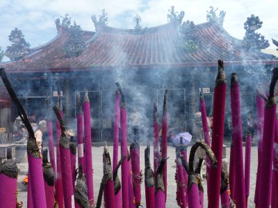 Massive incense sticks at Chinese temple, Penang