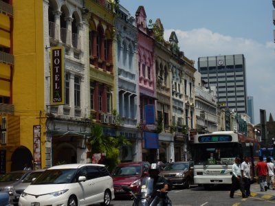 Multi coloured shophouses in Chinatown, KL