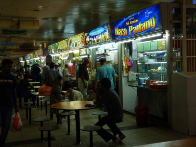 Hawker stalls at a food court in Singapore