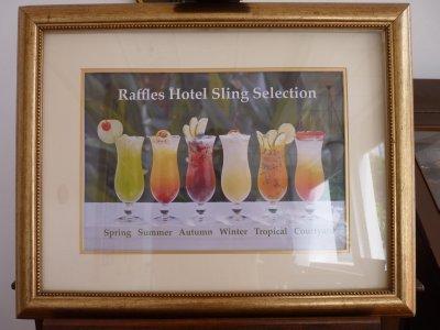 Singapore Sling menu at Raffles Hotel