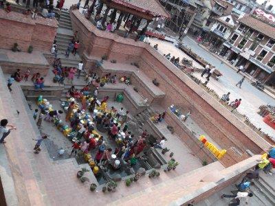 Gathering at the communal Water spigot in Patan, Nepal