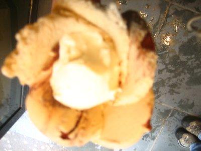 gelato in the shape of a flower! Tiramisu and Vanilla in case you were wondering