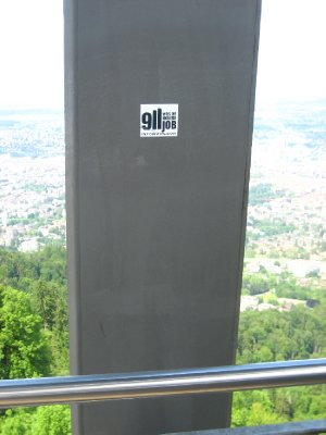 on my way up to highest viewpoint (manmade structure) and here is a controversial sticker posted far out off a ledge