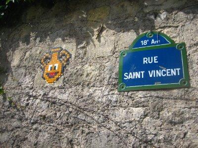 montmarte graffiti art - invader art was everywhere