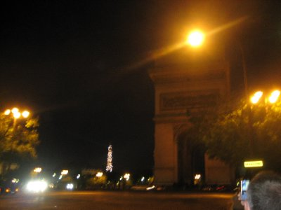looking at arc de triomphe and eiffel tower in the background