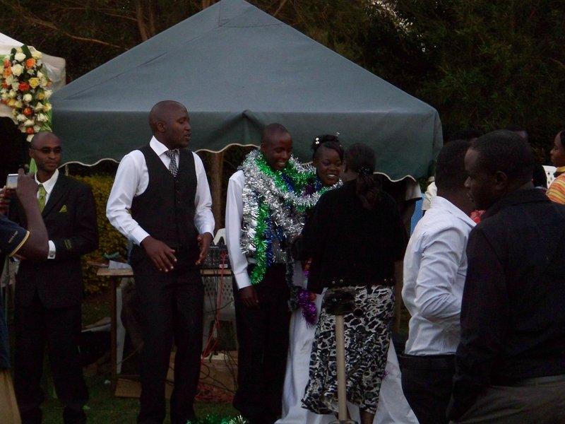 Presenting gifts to bride and groom