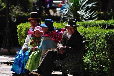 Family enjoying the scene in the plaza