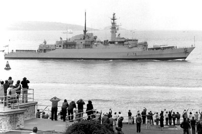 HMS Alacrity entering Plymouth