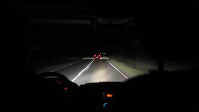 Dark road from airport to Noumea