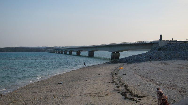 Beach under bridge