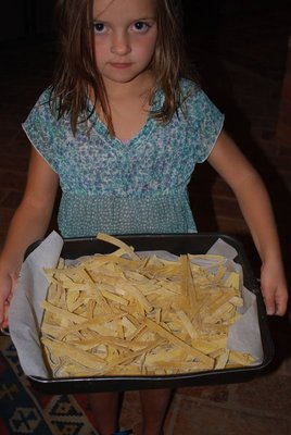 homemade pasta - despite this glum look, I think the cooks were happy!
