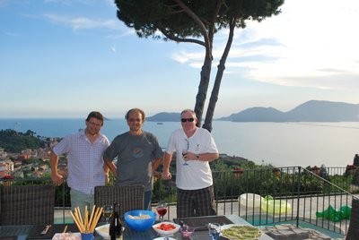 Dan, Gianluca, and Brent enjoy a hard earned local red and aperitivi