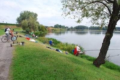 Mantova ... locals fishing with special elongated poles to get extra reach
