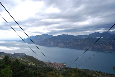 Monte Baldo ... weather briefly clears on way up ... Malcesine is the town below