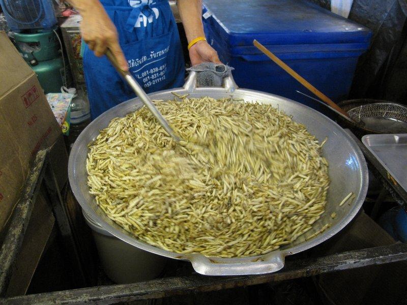 Fried Silk Worms