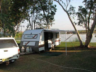 2012 Aug 30 Our van beside the lake at Kunnunurra