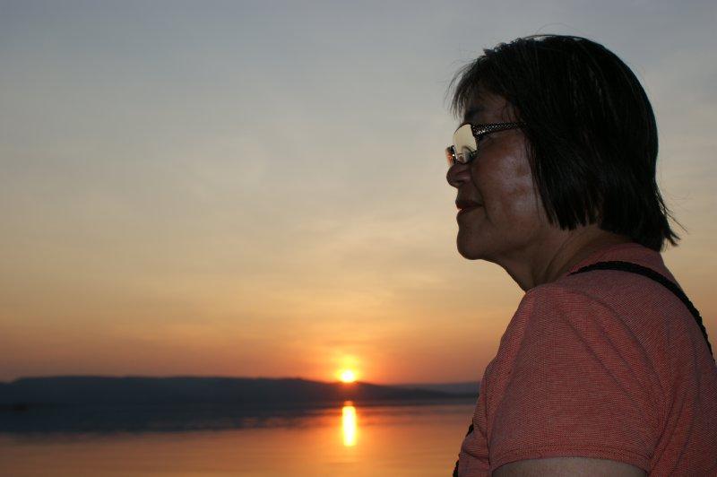 2012 Aug 29 Hiroe and sunset on Lake Argyle 1