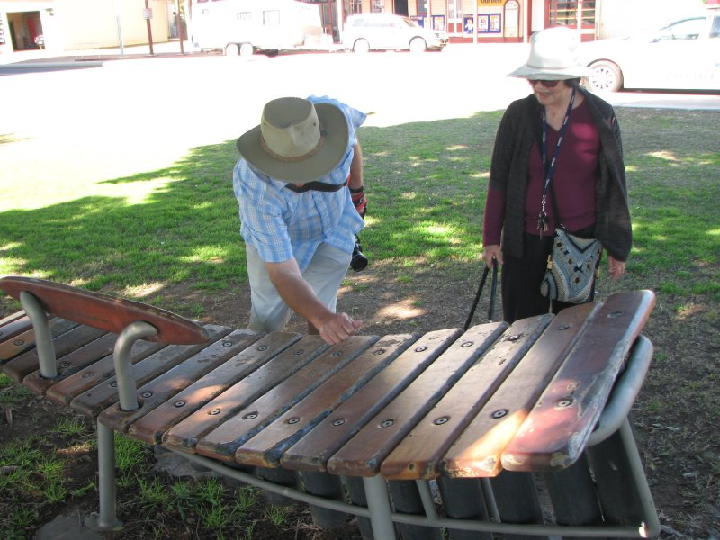2012 July 26 Bob and Hiroe and musical instrument Barcaldine