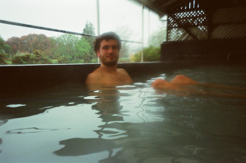 Alex relaxing in the thermal pool