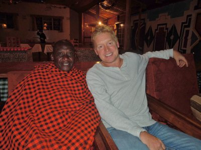 Rainer watching football with a Masai on New Years Day