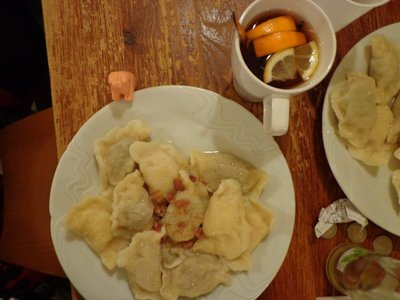 pierogies! so good. Also, a traditional hot citrus drink