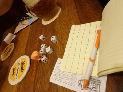 Farkle is this new, cool game Leigh introduced us to. She even got me my own dice and instructions so the piggies can spread it across Europe and Eurasia this summer!