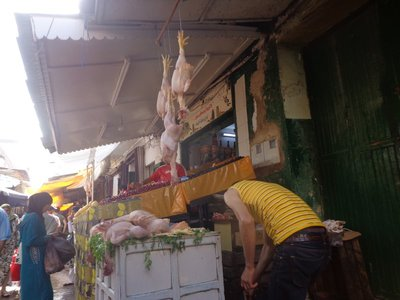you can watch chickens being killed here. Definitely makes you appreciate what you are eating. Thank goodness Muslims don't eat pork!