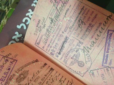 Stamps from a British Mandate of Palestine passport including an exit visa from Nazi Germany