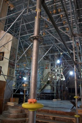 scaffolding in the church built on Jesus's birthplace