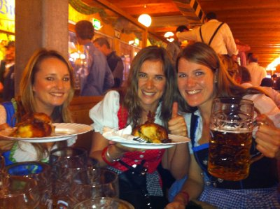 What more could you want? Chicken, beer, drindl, seat in the beer hall and amazing company!