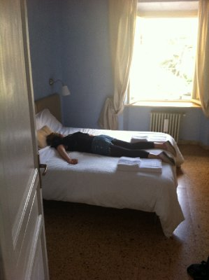Our B&B in Verona. Katie was a little tired after our frustrating travel day