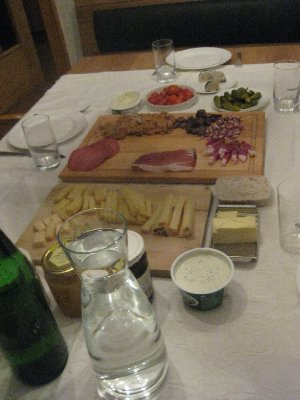 Typical Austrian dinner at the Pregenzer house (by the end I was a little sick of sausages!)