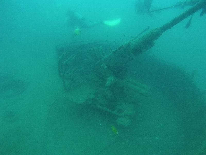 Diving near a military ship wreck